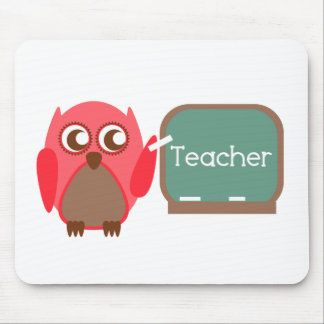 Red Owl Teacher At Chalkboard Mouse Pad