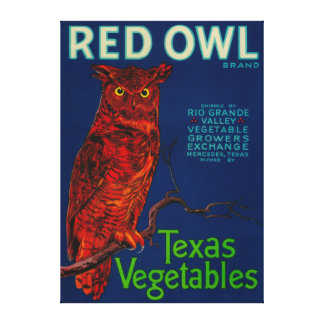 Red Owl Vegetable Label Canvas Print