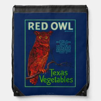 Red Owl Vegetable Label Drawstring Bag