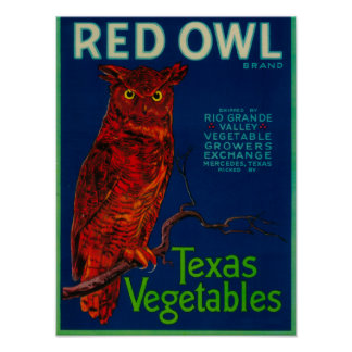 Red Owl Vegetable Label Poster