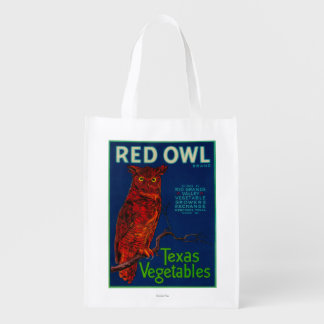Red Owl Vegetable Label Reusable Grocery Bag