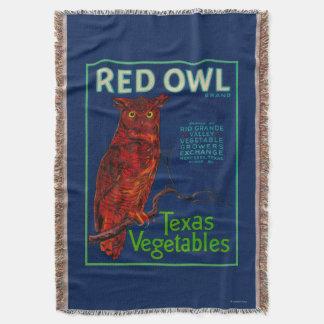 Red Owl Vegetable Label Throw Blanket