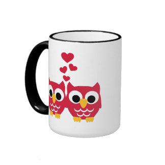 Red owls red hearts mug
