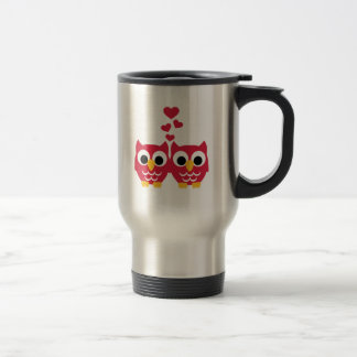 Red owls red hearts coffee mug