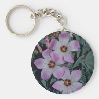 Red Oxalis flowers Basic Round Button Key Ring
