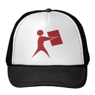 Red Package Delivery Man Icon Trucker Hat