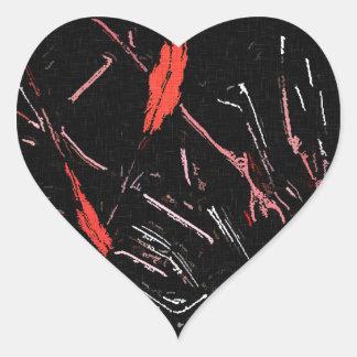 Red paint splashes abstract stains grunge design heart sticker