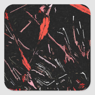 Red paint splashes abstract stains grunge design square sticker