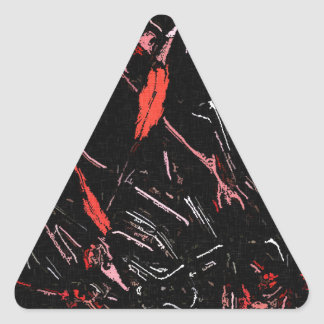 Red paint splashes abstract stains grunge design triangle sticker