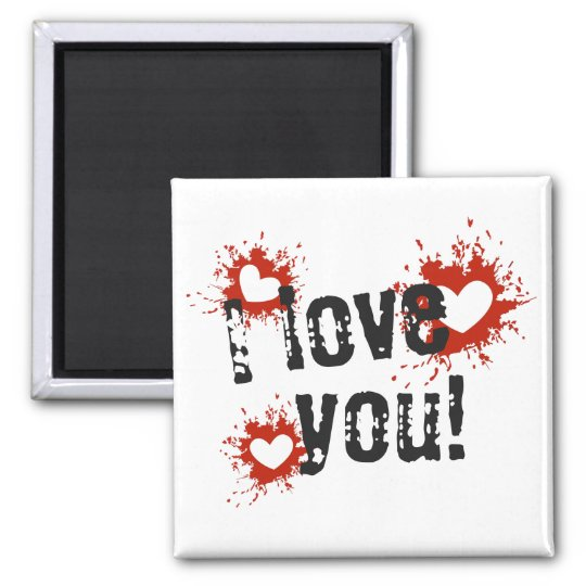 Red Paint Splatter Hearts, I Love You Magnet