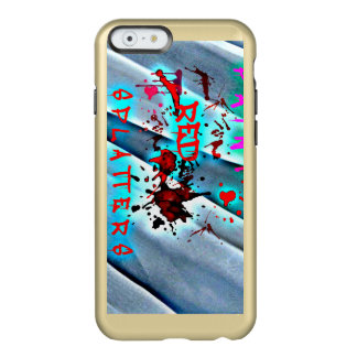 Red Paint Splatters Blood Drops Blue Waves Case