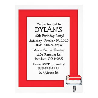 Red paint theme birthday party flyer invitations