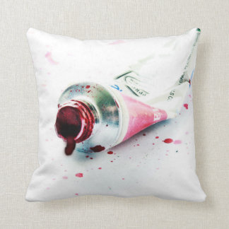 Red Paint Tube Splash Modern Art Design Pillow
