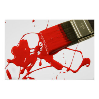 Red paintbrush poster