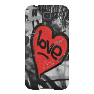 red painted heart galaxy s5 cases