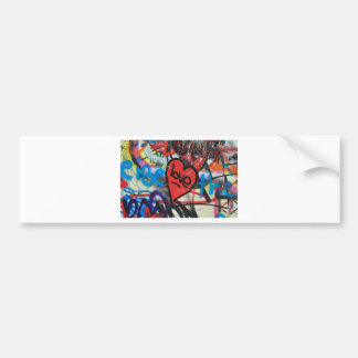 red painted heart love graffiti bumper stickers