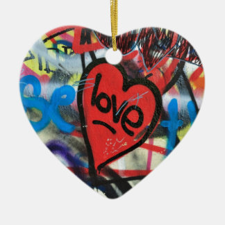 red painted heart love graffiti ceramic heart decoration