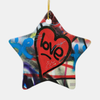 red painted heart love graffiti ceramic star decoration