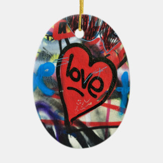 red painted heart love graffiti christmas ornament
