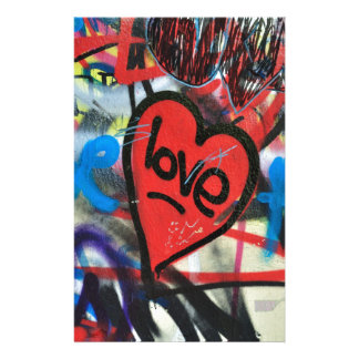 red painted heart love graffiti custom stationery