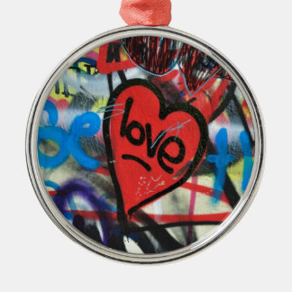 red painted heart love graffiti Silver-Colored round decoration