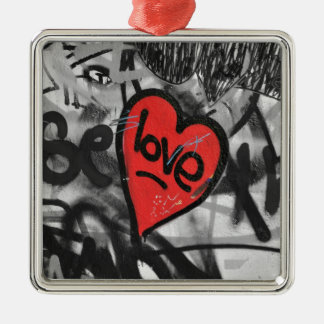 red painted heart Silver-Colored square decoration