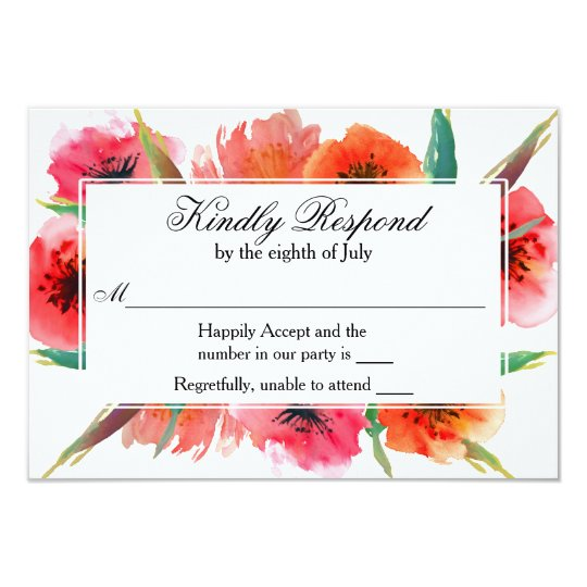 Red Painted Poppies Floral Wedding RSVP Card