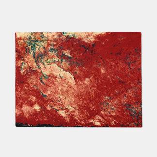 Red Painted Rock Wall Doormat