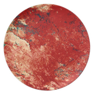 Red Painted Rock Wall Plate