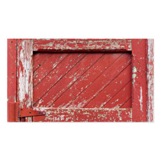 Red Painted Wooden Barn Door Business Card Template
