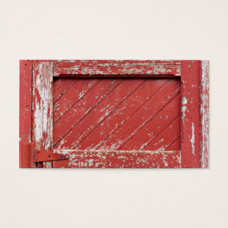 Red Painted Wooden Barn Door Business Card