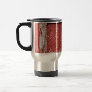 Red Painted Wooden Barn Door Stainless Steel Travel Mug