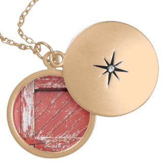 Red Painted Wooden Barn Door Round Locket Necklace