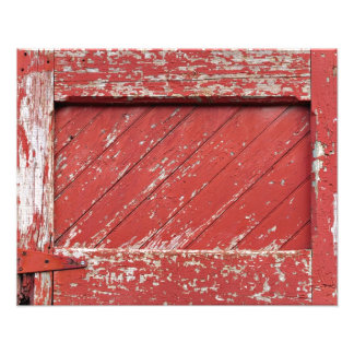 Red Painted Wooden Barn Door Photographic Print