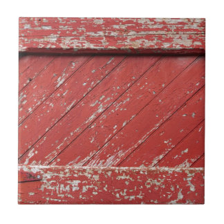 Red Painted Wooden Barn Door Small Square Tile
