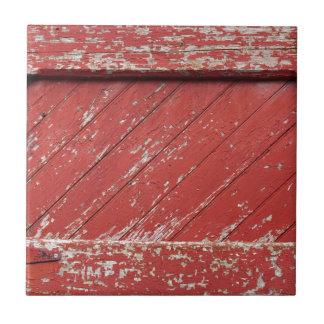 Red Painted Wooden Barn Door Tile