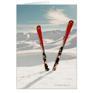 Red pair of ski standing in snow card