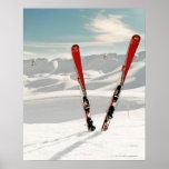 Red pair of ski standing in snow print