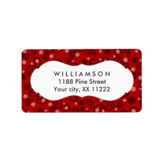 red paisley bandana cowboy western favor address label
