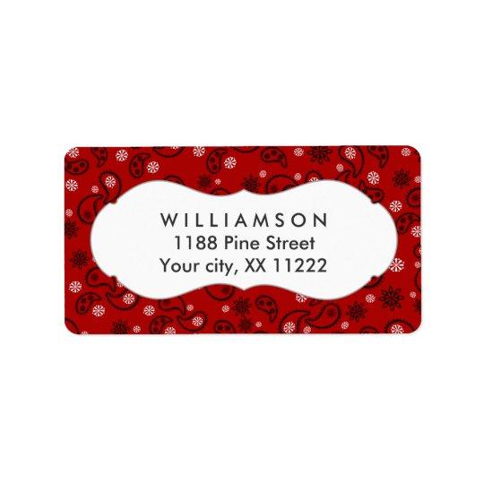 red paisley bandanna cowboy western favour address label