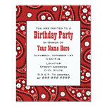 Red Paisley Bandanna Inspired Birthday Invitation