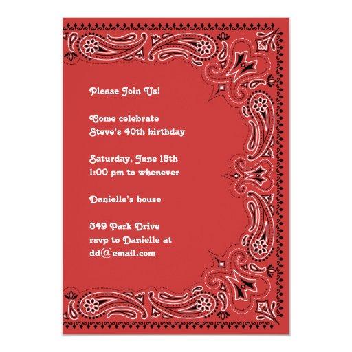 Red Paisley Bandanna Invitation