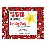 Red Paisley Bandanna Kids Cowboy Birthday Invite