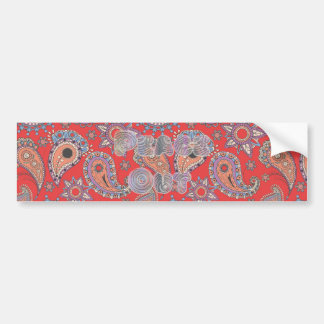 Red Paisley Bumper Sticker