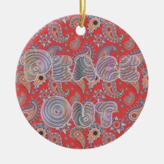 Red Paisley Round Ceramic Decoration