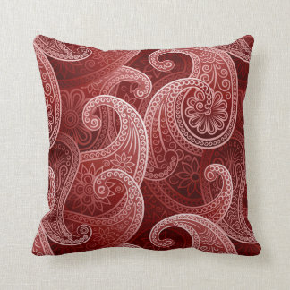 Red Paisley Exotic Pattern Cushion