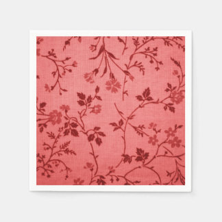 Red paisley fabric like linen look disposable serviette