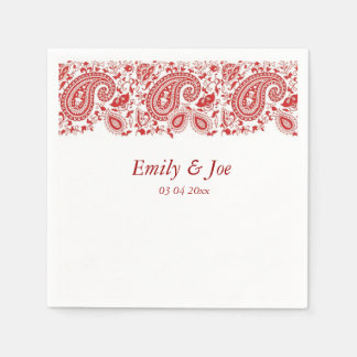 Red  paisley lace wedding disposable napkin