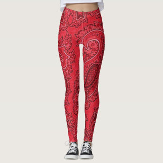 Red Paisley Leggings