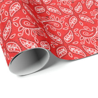 Red Paisley pattern Country Western wrapping paper